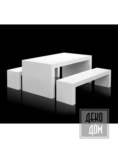 ABHIKA | Стол со скамьями Bench Set Fib 161x90cm (арт.450125-W) фото | ✆ +38(067)3-999-700 | Цена в Украине | Оригинальный декор для дома |